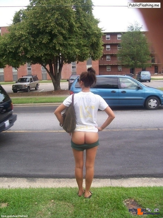 Bare ass on the street amateur girl Public Flashing