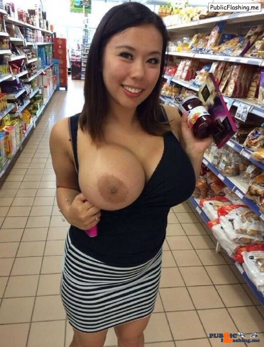 Chinese bimbo huge tit flash in supermarket