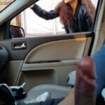 Flashing big cock for hitchhiker girl he got a ride