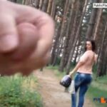 Teen flashing boobies in snowy forest
