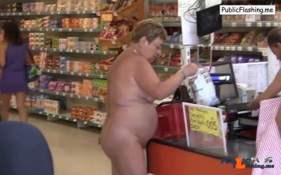 Nude mature wife in supermarket VIDEO