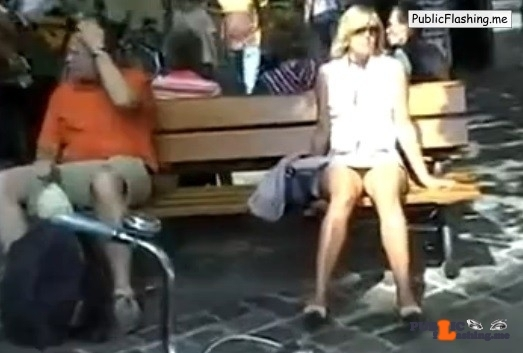 MILF in mini skirt no panties in public VIDEO