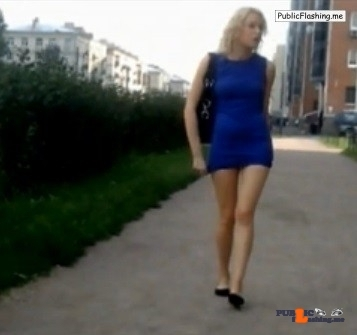 Amateur sharking hot blonde in blue mini dress VIDEO
