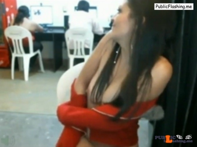 Amateur cam girl flashing in internet cafe VIDEO