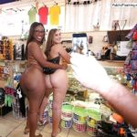 Big ebony and big white ass in store