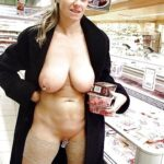 Great set of big round pierced fake tits in supermarket