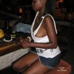 No panties sevamilf: In front of the bar, no panties, slut tank top. pantiesless