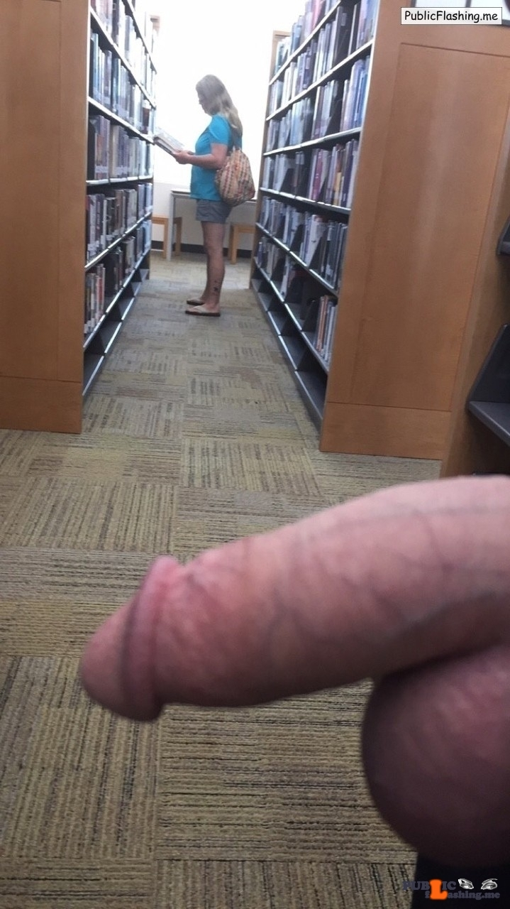 Balls and dick flash to a woman in library