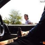 Dick flash and jerking in car girl wants to help VIDEO