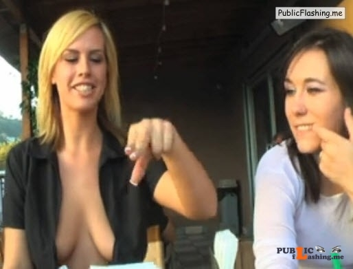 German Blonde flashing tits in cafe to her best friend VIDEO Public Flashing