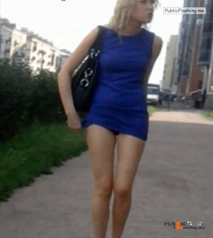 Amateur sharking hot blonde in blue mini dress VIDEO Public Flashing
