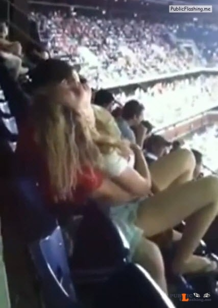 Touching pussy of GF on the stadium VIDEO Public Flashing