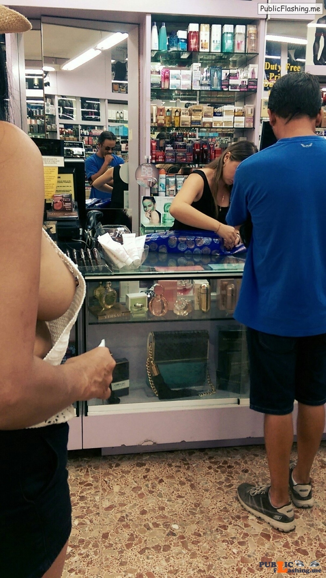 Nipple slip voyeur in supermarket Topless beauty Public Flashing