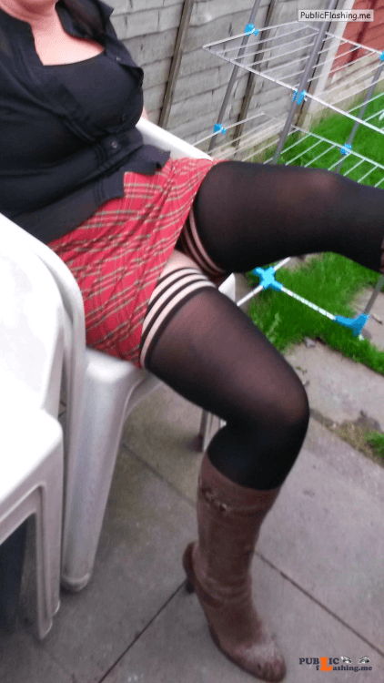 Ass flashing lickmywife69:love my wife in her tartan mini skirt, boots and... Public Flashing