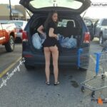 Beautiful young hot wife is pulling dress up on car parking – NO PANTIES ass flash