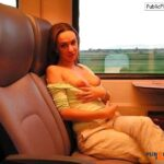Hot wife flashing boobs in train