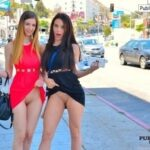 FTV girls upskirt Gorgeous Lana and Stella pull up their dresses to show off their…