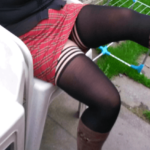 Ass flashing lickmywife69:love my wife in her tartan mini skirt, boots and…
