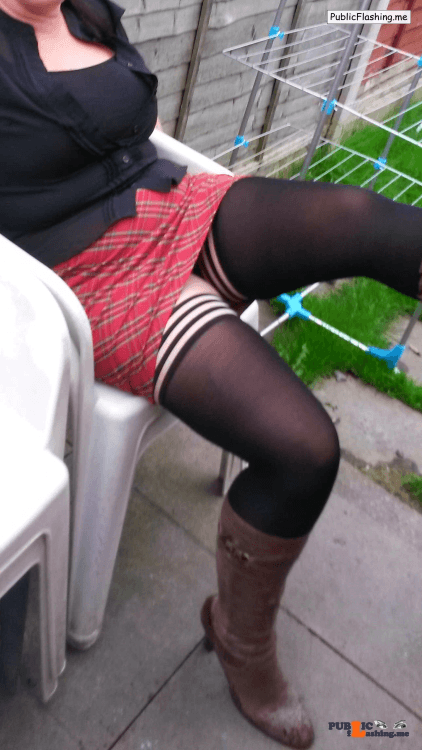 Public Flashing Photo Feed : Ass flashing lickmywife69:love my wife in her tartan mini skirt, boots and…