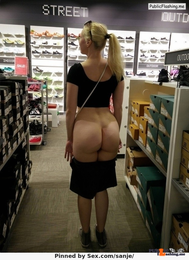 Blonde hot wife flashing big booty in shoes store