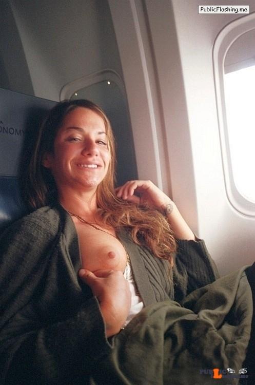 Beauty is flashing boob in airplane Public Flashing