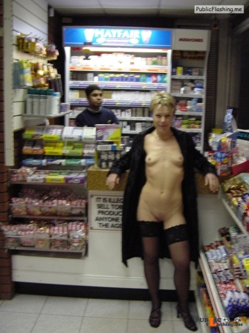 Flashing in public store Love the old school flashing approach.  Go out, wear nothing but... Public Flashing