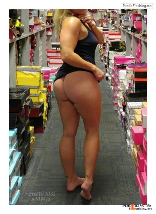 Flashing in public store nikikittenniki: More shoe shopping pics my cuckold husband took... Public Flashing