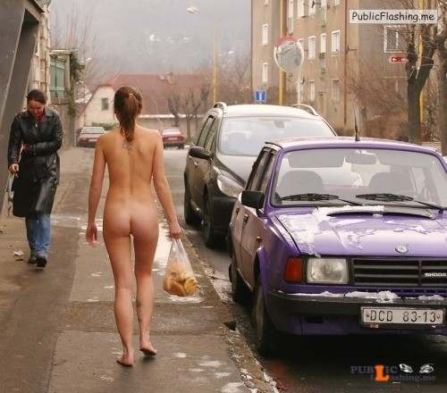 Public nudity photo thelifeoftami:The two girls quickly walked out of the bank, Miss... Public Flashing