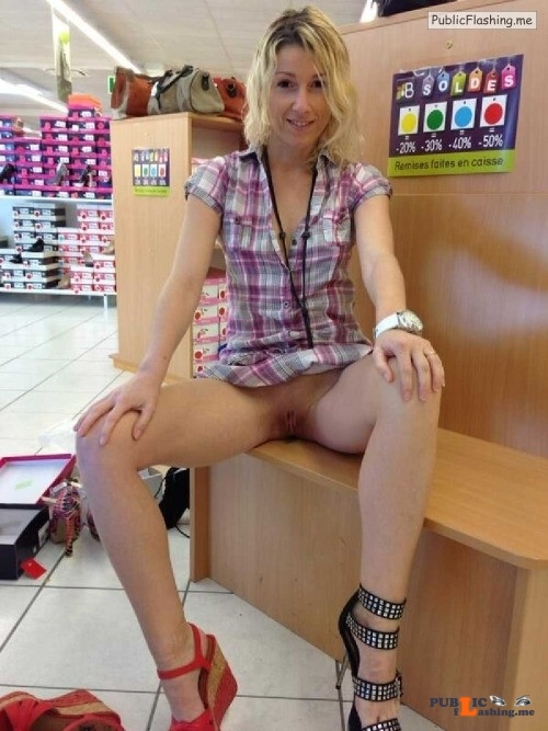 Flashing in public store Hmmm…  Classic wedge or the slutty heels?  What? She is... Public Flashing