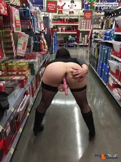 Flashing in public store Bent over, fucking herself with a dildo in the middle of the…
