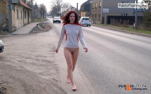 Public nudity photo carelessnaked:Showing her bottomless pussy and walking on the... Public Flashing