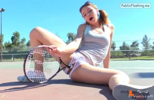 FTV Girls Horny FTV Girl fucks herself with a tennis racket on a public... Public Flashing