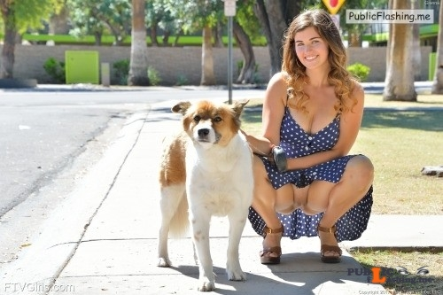 FTV girls upskirt Busty Gianna takes her dog for a walk, and let's her kitty get... Public Flashing