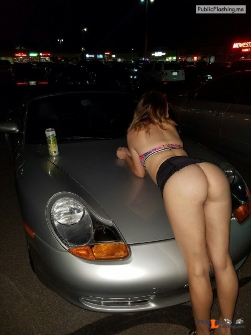 No panties xmaggiiexx:Public flash on a strangers car ? Is this you? pantiesless Public Flashing