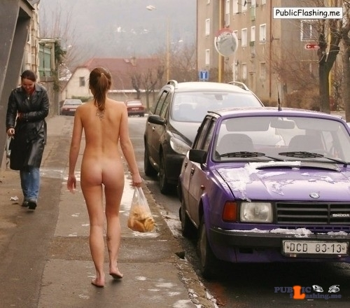 Public nudity photo thelifeoftami:The two girls quickly walked out of the bank, Miss…