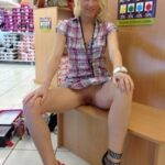 Flashing in public store Hmmm…  Classic wedge or the slutty heels?  What? She is…