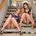FTV girls upskirt Two bold FTV Girls flash their pussies under their short…