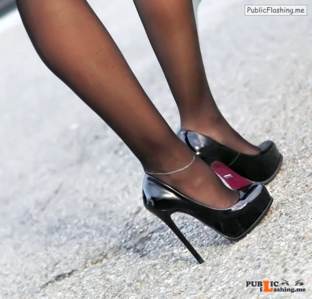 hot wive anklet and high heels in public