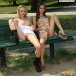 Public flashing photo flashing-and-nude-in-public: Public bench lesbians