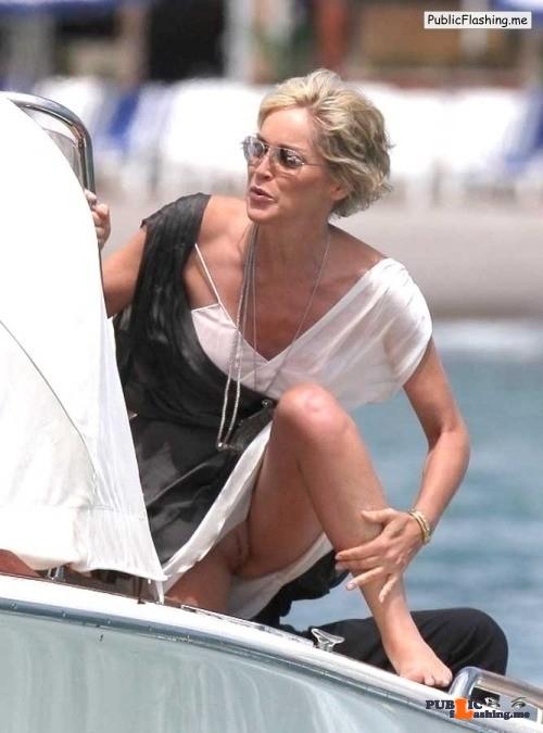 Public Flashing Photo Feed : Exposed in public Sharon Stone flashing pussy…