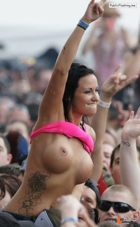 Public exhibitionists bolted-on-boobs: Concert flash \m/