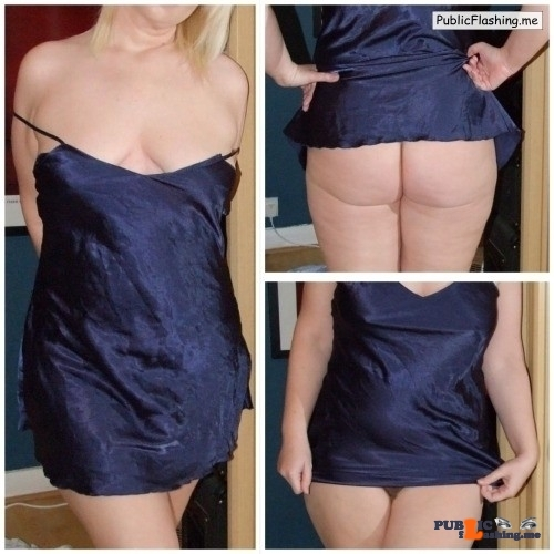 No panties mysexywife79: Night dress, no underwear ?✊?? pantiesless