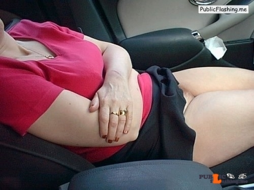 No panties cnynudist: Showing off whilst on the road  pantiesless