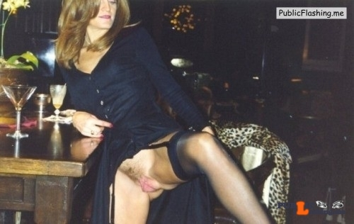 Public Flashing Photo Feed : Exposed in public At the bar. Beautiful meaty pussy…Thank you for the submission…