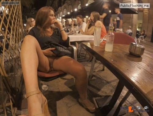 carelessnaked: In a short dress inside a restaurant and showing... Public Flashing