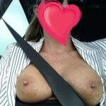 Outdoor nude selfshot Car boob selfies