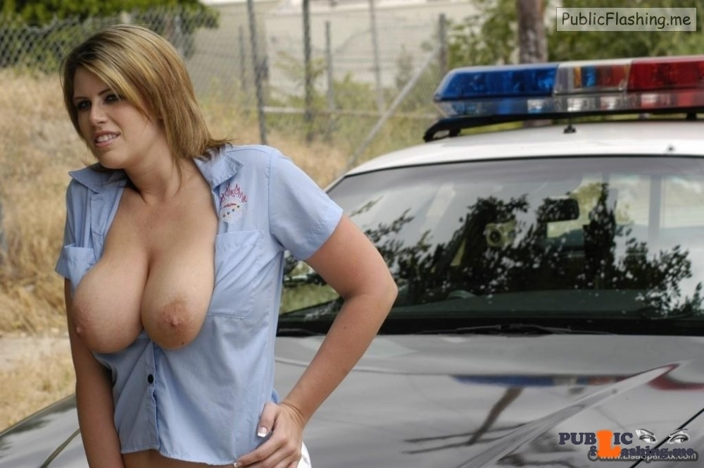 Cop girl flashing tits