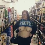 Flashing in public store Love the plus size girls that show off their tits in stores…