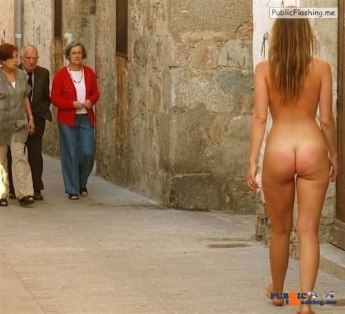 Public Flashing Photo Feed : Public nudity photo yummyyuck:Liesel S. The old woman is NOT pleased. Follow me for…