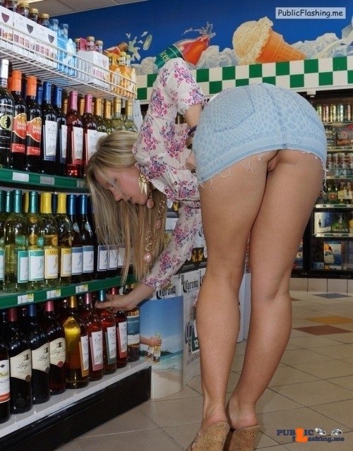 Public flashing photo shoppingbabes5: Upskirt at the wine store …